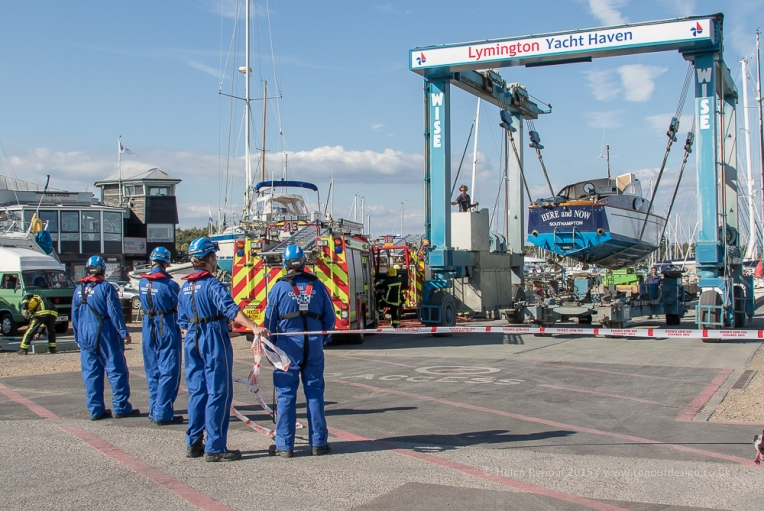 HM Coastguard, Hampshire Fire Service and the salvege team from Lymington Yacht Haven