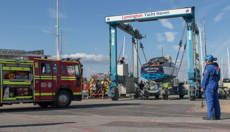 Hampshire Fire Service and Lymington Yacht Haven Salvege team