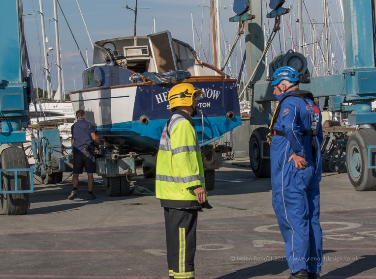 Hampshire Fire Service incident command and the Station Officer at HM Coastguard Lymington
